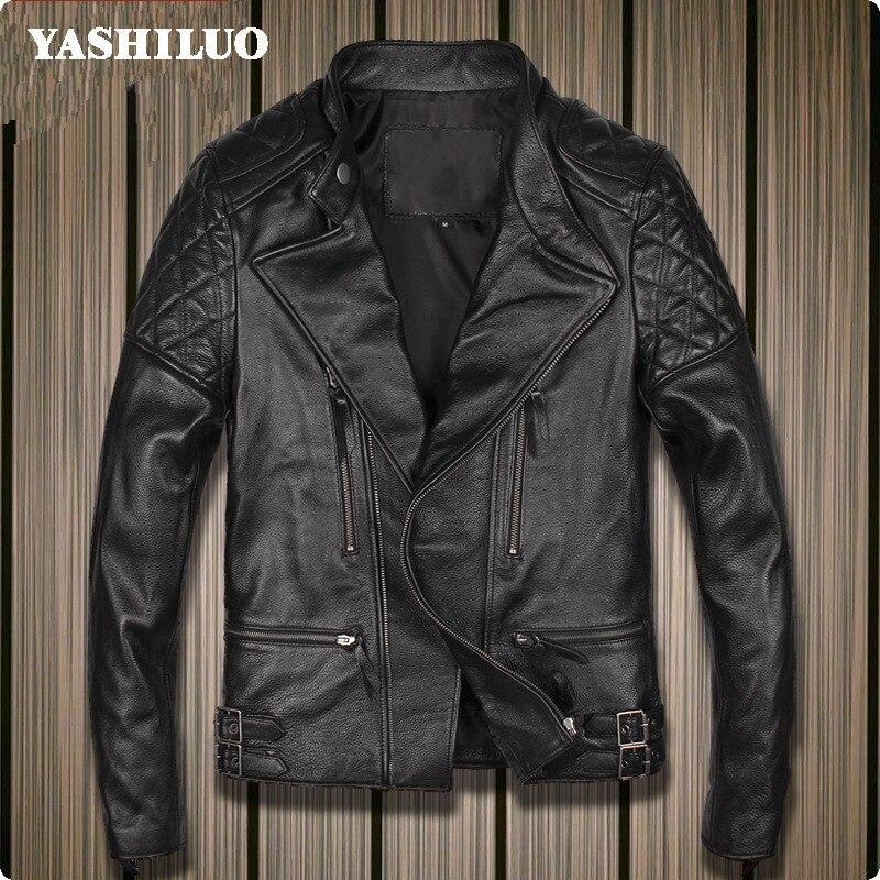 2019 Neue Mens 100% Echt Leder Jacke Slim Fit Motorrad Kurze Mantel Stehen Kragen Männlichen Rindsleder Jaqueta De Couro Motoqueiro