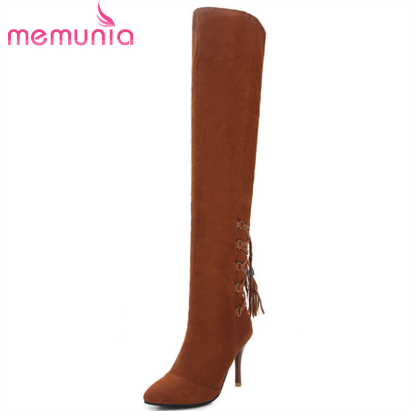 MEMUNIA Pointed toe stretch boots woman sexy lady fashion shoes over the knee boots flock spring autumn big size 34-43