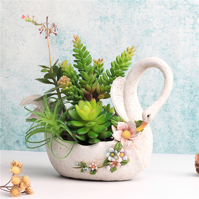 Cute Swan Animal Flower Pot White Resin Planters Pots