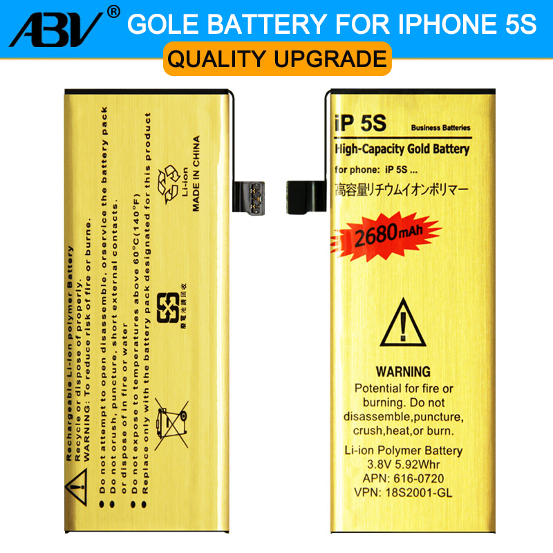 Original ABV Brand New Good Quality Golden bateria ip5s Mobile Phone Battery for Apple iPhone 5S iphone5S 5C Battery 2018 New