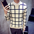 Sweaters men 2016 Brand Pullovers Casual Sweaters Men O-Neck Plaid Slim Fit Knitting Mens Sweaters Pullover Man pull homme