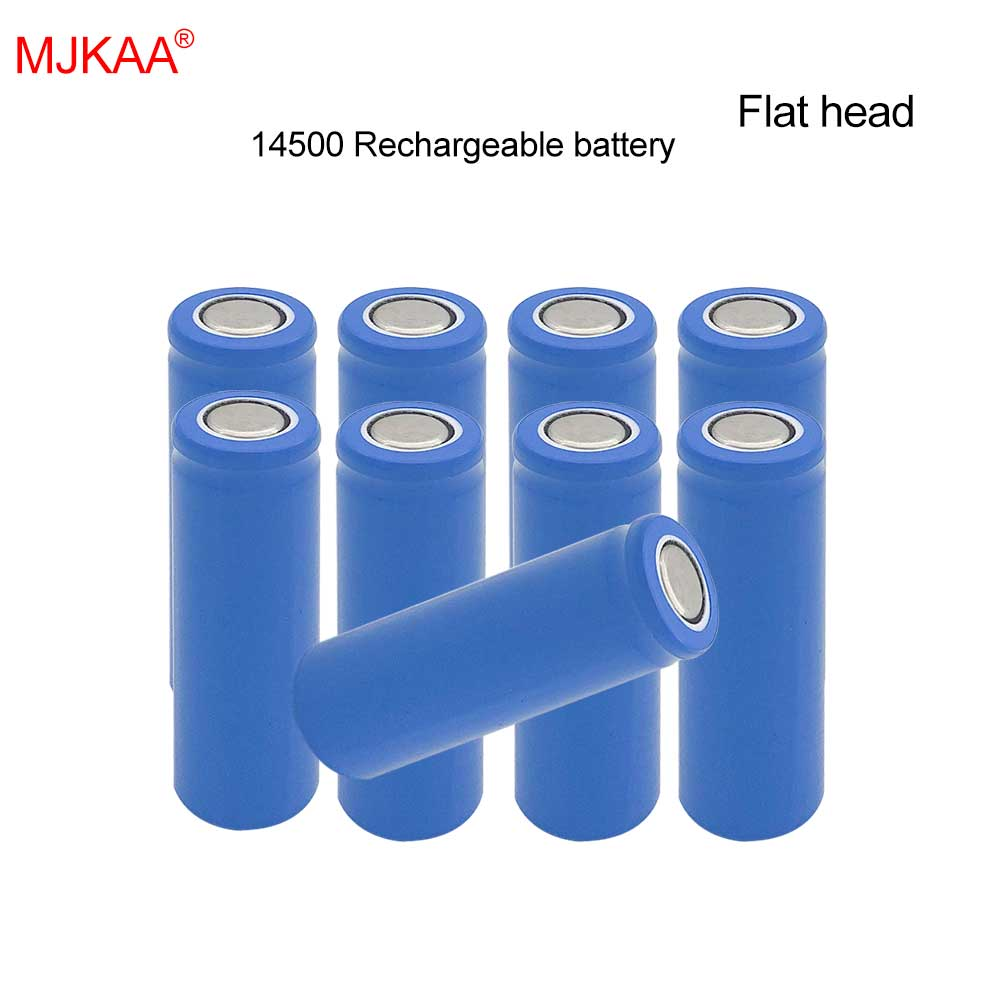 10pcs Lot MJKAA 100 Real 1200mAh 14500 Li ion 3 7V AA size Rechargeable Batteries For Power Bank Flashlight Flat head in Rechargeable Batteries from Consumer Electronics