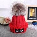 Design Skullies Pompon Beanies Fur Hat  Fur Ball Cap Knitted Cotton Beanies Caps Warm Bonnet Wool Ski Cap