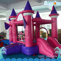 Pink Color Inflatable Bouncing House With Slide For Girls