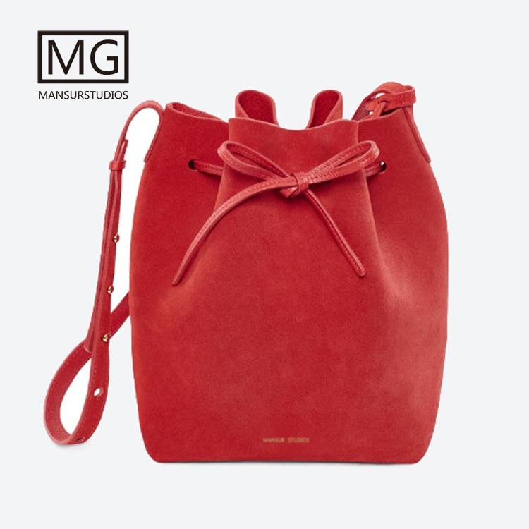 2018 Mansurstudios Women Faux Suede Bucket Bag ,mansur Lady Leather Suede Shoulder Bags,free Shipping