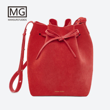 цены 2018 Mansurstudios Women Faux Suede bucket Bag ,mansur lady leather suede shoulder Bags,free shipping