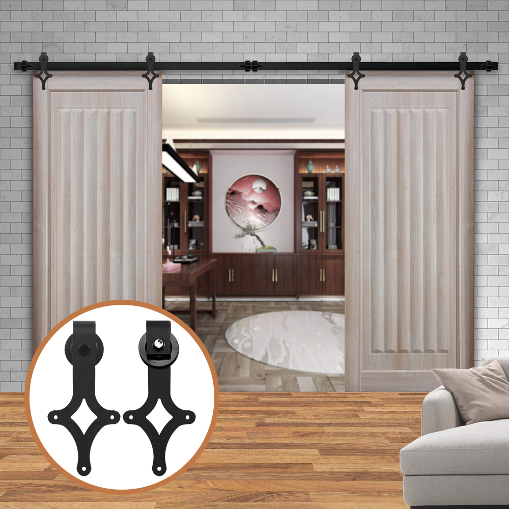 LWZH 10ft/11ft/12ft/12.6ft Sliding Barn Wood Door Hardware Kit Black Steel Interior Rhombus Shaped Track Roller For Double Door