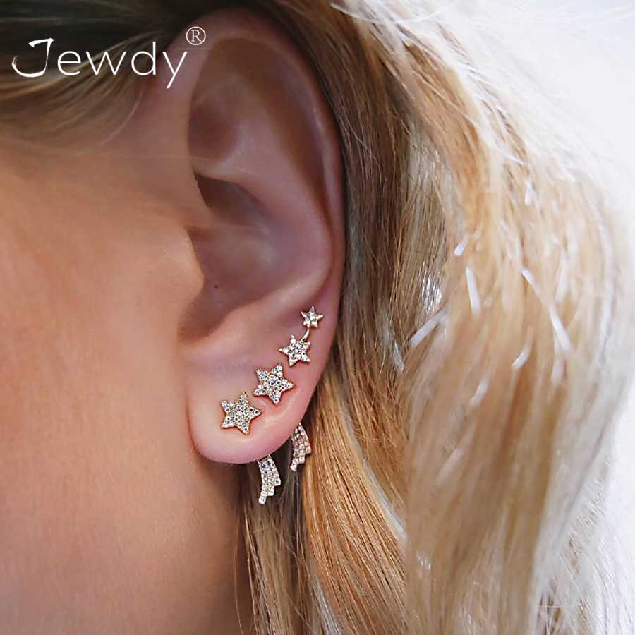 2 Pairs/Set Women Crystal Stars Bohemian Earring Stud Earrings for Women Boucle D'oreille Jewelry Dazzling Wedding Opal Brincos