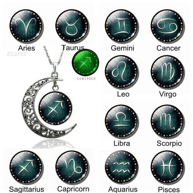 US $1 59 20% OFF|Glow In The Dark Constellation Necklace 12 Zodiac Signs  Glass Cabochon Crescent Moon Necklace Zodiac Jewelry Women Birthday Gift-in