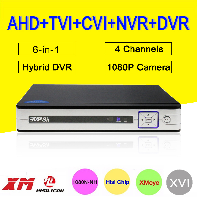 Silver White Hi3520D 1080P Surveillance Camera 4CH 4 Channel 25fps 6 in 1 Coaxial Hybrid NVR TVI CVI AHD CCTV DVR Free Shipping silver panel hi3521a 5 in 1 xmeye 4 channel 4ch 1080p 2mp 25fps realtime hybrid coaxial nvr tvi cvi ahd cctv dvr free shipping