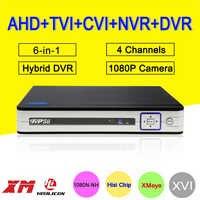 Silver White Hi3520D 1080P Surveillance Camera 4CH 4 Channel 25fps 6 in 1 Coaxial Hybrid NVR TVI CVI AHD CCTV DVR Free Shipping