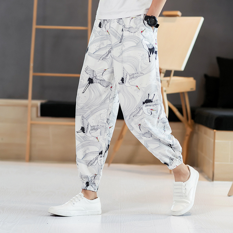 Men's Casual Pants Side Stripe Reflective Trousers Male Printing Harem Pants Men Printed Cargo Joggers Pants Sweatpants Big Size