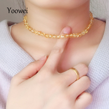 Yoowei New Choker Amber Necklace Wholesale Natural Baltic Beads Customized Women Amber Jewelry Trendy Beach Short Choker Collar