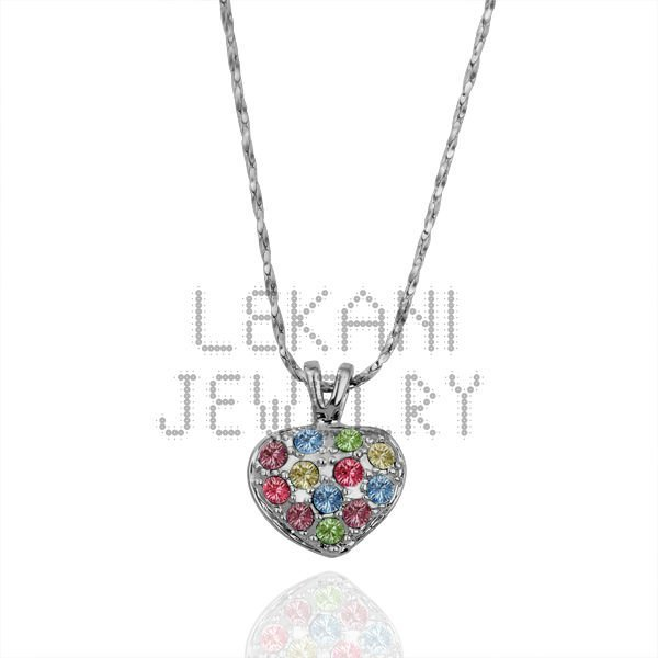 Free shipping heart colorful Crystal  18K gold plated  necklaces.Fashion wholesale 18K necklaces LKN18KRGPN147