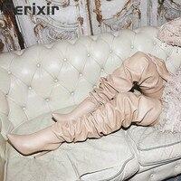 Высокие сапоги до бедра с острым носком, плиссированные Сапоги выше колена, женская обувь на тонком высоком каблуке, Botas Botte Femme Talon