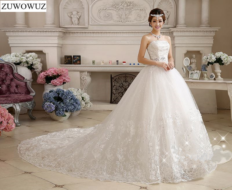 Stock 2017 New Plus Size Bridal Gown Wedding Dress Long