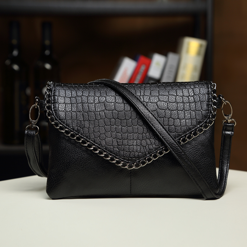 day clutches women bags female shoulder bags leather handbag black purses crossbody bags for women Envelope girl ladies hand bag women genuine leather character embossed day clutches wristlet long wallets chains hand bag female shoulder clutch crossbody bag