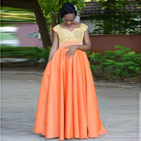 Orange A Line Lace Cap Sleeve Evening Dresses Satin Court Long Formal Party Pearls Prom Gowns