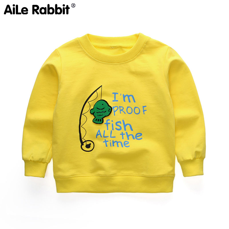 T-Shirt Tops Fishing Baby Children's Long-Sleeved Cartoon Letter Aile Rabbit-Boy Fashion