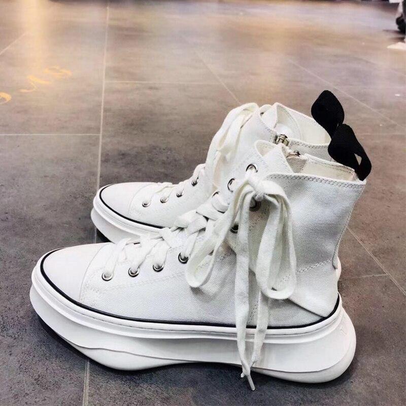 Suela Plataforma Zapatos Corte Ins Lona Alto Popular Zapatillas Irregular Goma Plana Letras De Moda Blanco blanco Negro Negro ZXxtvq