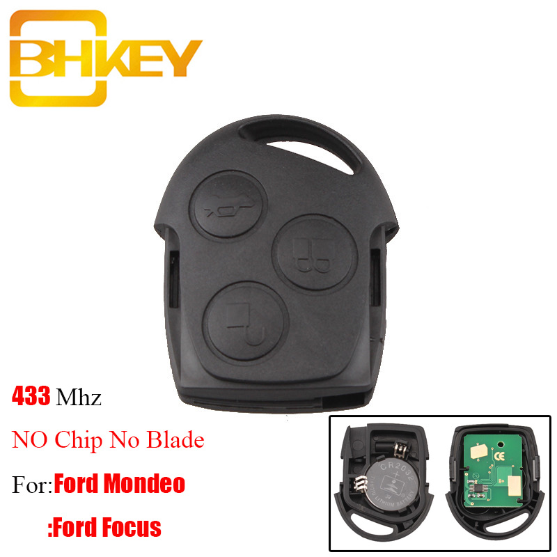 BHKEY 3Buttons Remote Car Key 433Mhz For Ford Fusion Focus Mondeo Fiesta Galaxy 2001-2008