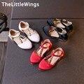 2017 весна новая Мода кожа упругой хан издание shoes of девушки Корейской версии Британского стиля Заклепки принцесса shoes