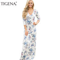 Tigenaプリントvネック床長さドレス女性2017秋のファッション白青ロングマキシパーティードレスシャツ女性ローブフェムセクシ