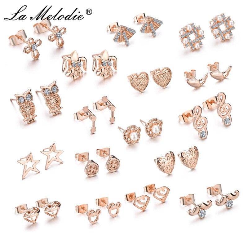 Stud-Earring Geometric Animal Crosses Rose-Gold-Color Heart Owl Mickey Women New