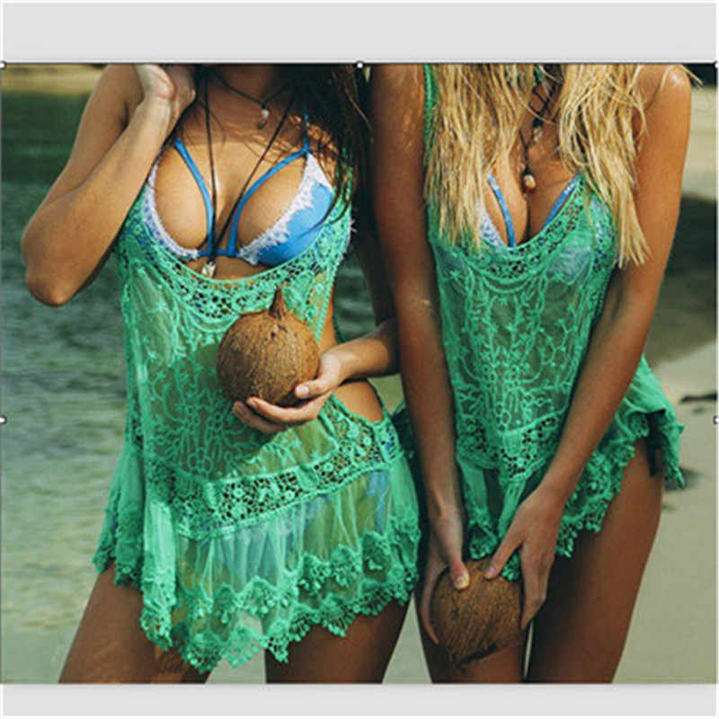 Anteriore Aperto Bikini Beach Cover Up Sexy Delle Donne Del Merletto di Usura Della Spiaggia del Costume Da Bagno Cover Up Beach Abbigliamento costumi da bagno cover up delle donne