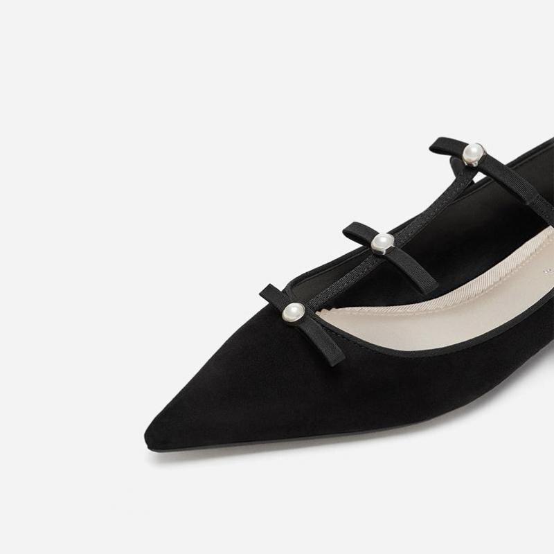 Plat Bow Ballet Femelle Women10 Tie Chaussures Hauts Noir 2018 Unique Fond Perles 16 Talons Pointu À Bas MpUVzSq