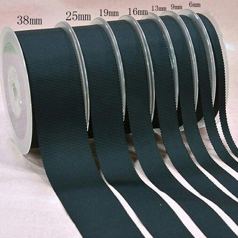 6 9 13 16 19 25 38mm preto grosgrain fitas de embrulho DIY manual do material acessórios de vestuário chapéu de poliéster cinto. 50 metros