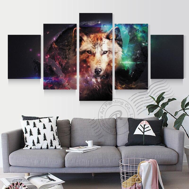 ᓂ5 panel abstracta moderna lienzo de pintura Lobo el Sirius cuadros ...