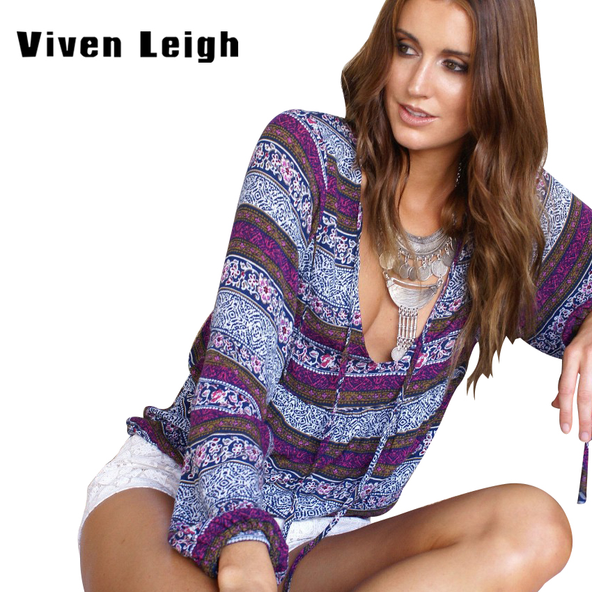 Viven Leigh 2018 Woman Bohemian Sexy Plunge V Neck Long Sleeve Blouse Tops Large Female Stripe