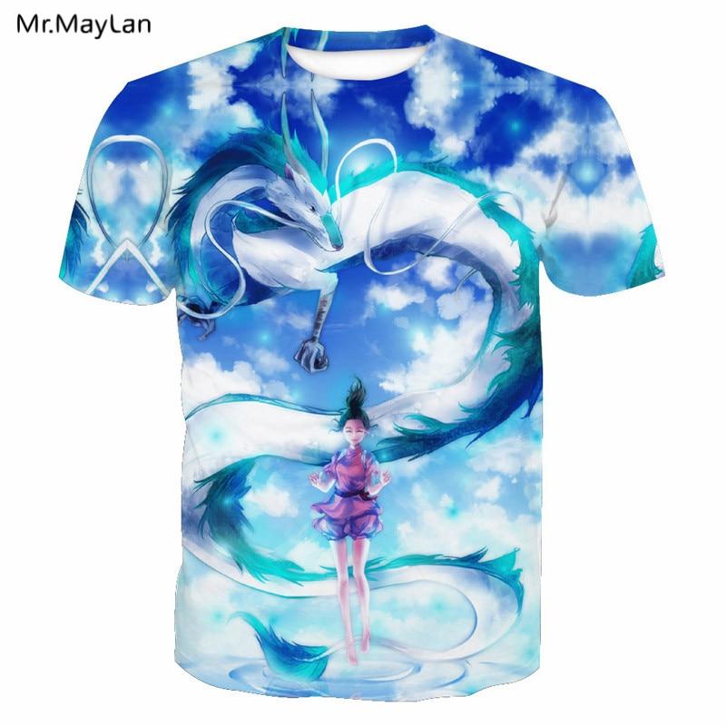 3D Print Cartoon Dragon Flying Clouds Hipster Sky Blue Tee T shirt Men/Women Hiphop T-Shirt 2018 Boy Clothing Harajuku Oversized