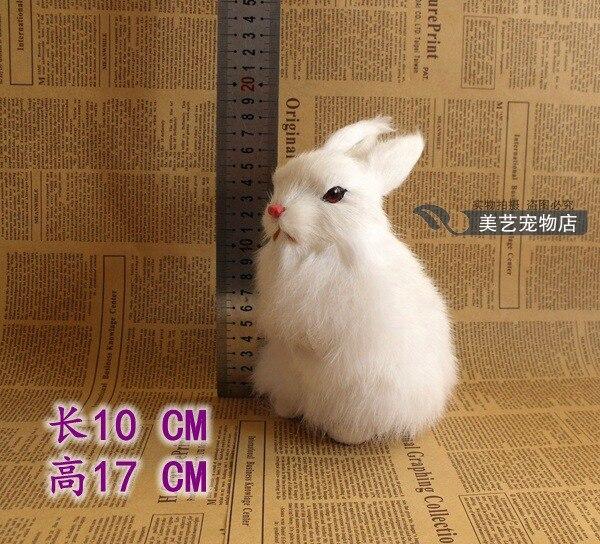 2ddd52734551a simulation rabbit about 10x17cm white squatting rabbit model polyethylene   fur handicraft