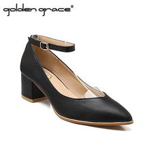2016 Spring Shallow Mouth Pointed Toe Shoes Thick Heel Brief Black Work Shoes Small Yards