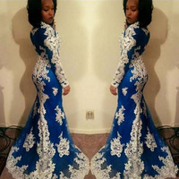 New Arrival African Women Mermaid Prom Gowns Long Sleeves Lace Appliques Aso Ebi Evening Gowns Gala Blue Formal Party Dresses