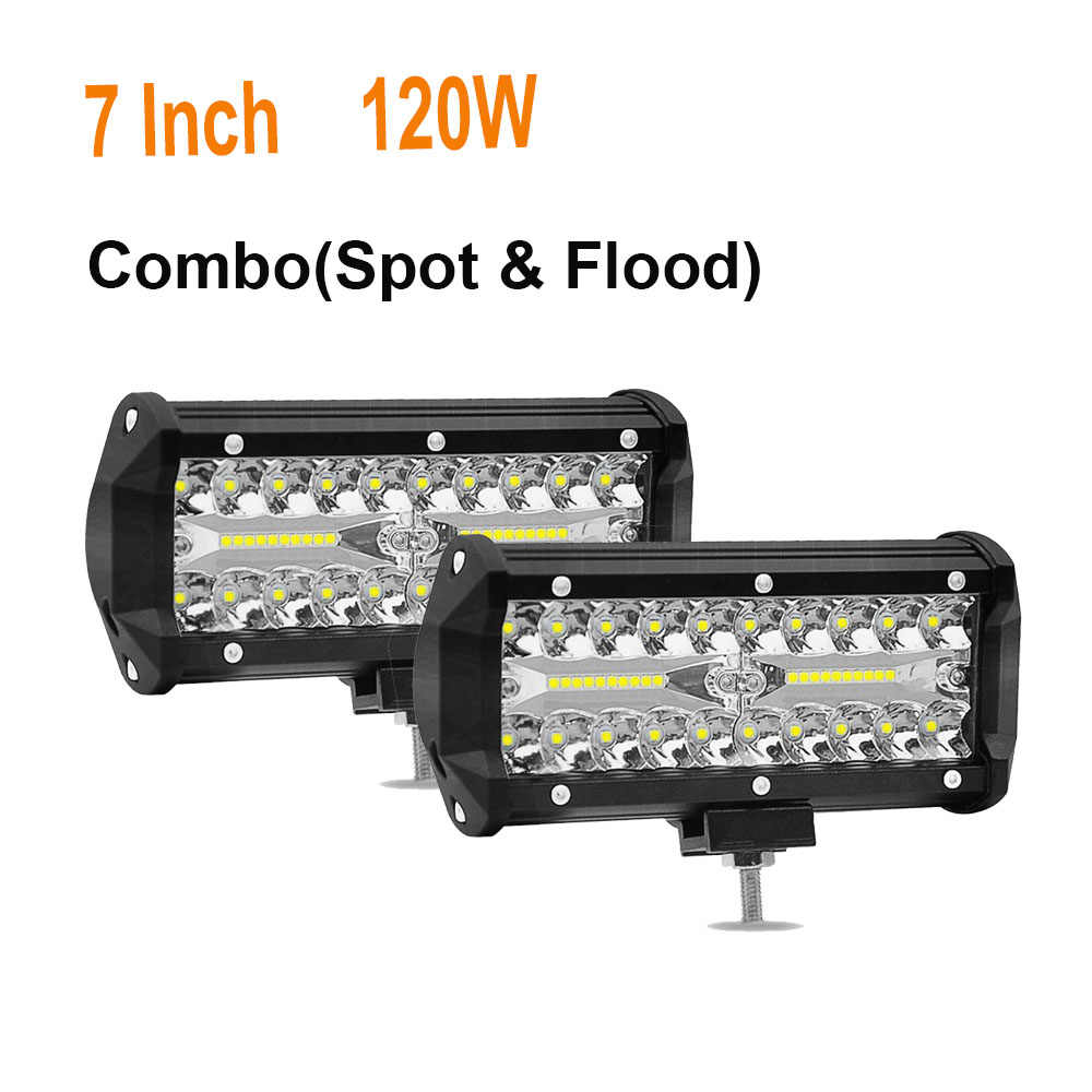 7 дюймов 120 Вт светодиодный свет работы бар combo Луч Автомобильная лампочка для внедорожных грузовик 4WD 4x4 джип мотоцикл рампы 12 В 24 Авто Туман лампа