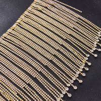 5yards/lot luxury 16CM length tassel trim rhinestones appliques for clothing dress decortions sew on belt sash patches crystal