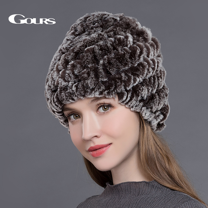 купить Gours Natural Rex Rabbit Fur Hats for Women Winter Thick Warm Fashion Brand Beanies Ladies High Quality Caps Brown New Arrival по цене 449.3 рублей