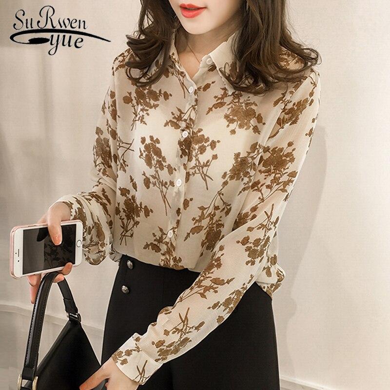Модные женские топы и блузки 2020 шифоновая блузка рубашка с длинным рукавом с принтом размера плюс 3XL 4XL блузка женская блузка 1058 40 Блузки и рубашки      АлиЭкспресс