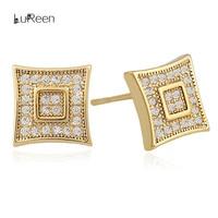 LuReen Bling Micro Pave Cubic Zirconia Square Shape Stud Earrings For Women Men Hip Hop Gold