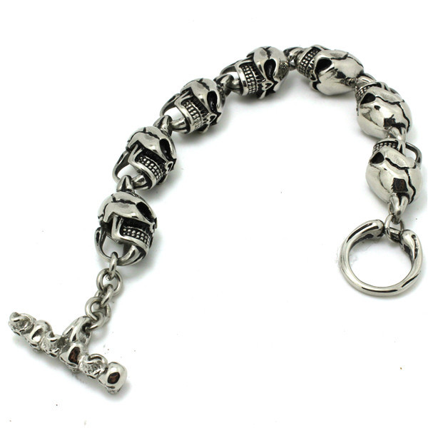 Hot!! Fast Shipping Polishing Sliver Ghost Skull Bracelet 316 Stainless Steel Hot Sale Cool Skull Bracelet цена