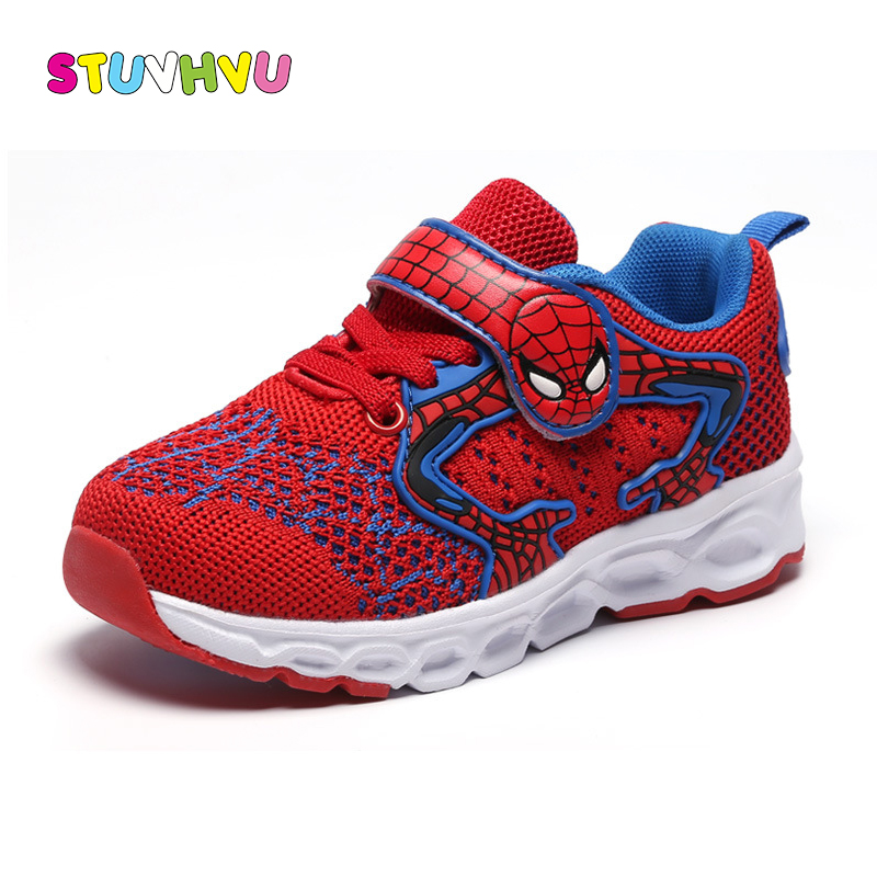 Boys sports shoes sneakers for children 2018 autumn new fashion spiderman kids mesh breathable soft running shoes for students сумка quelle colors for life 816415