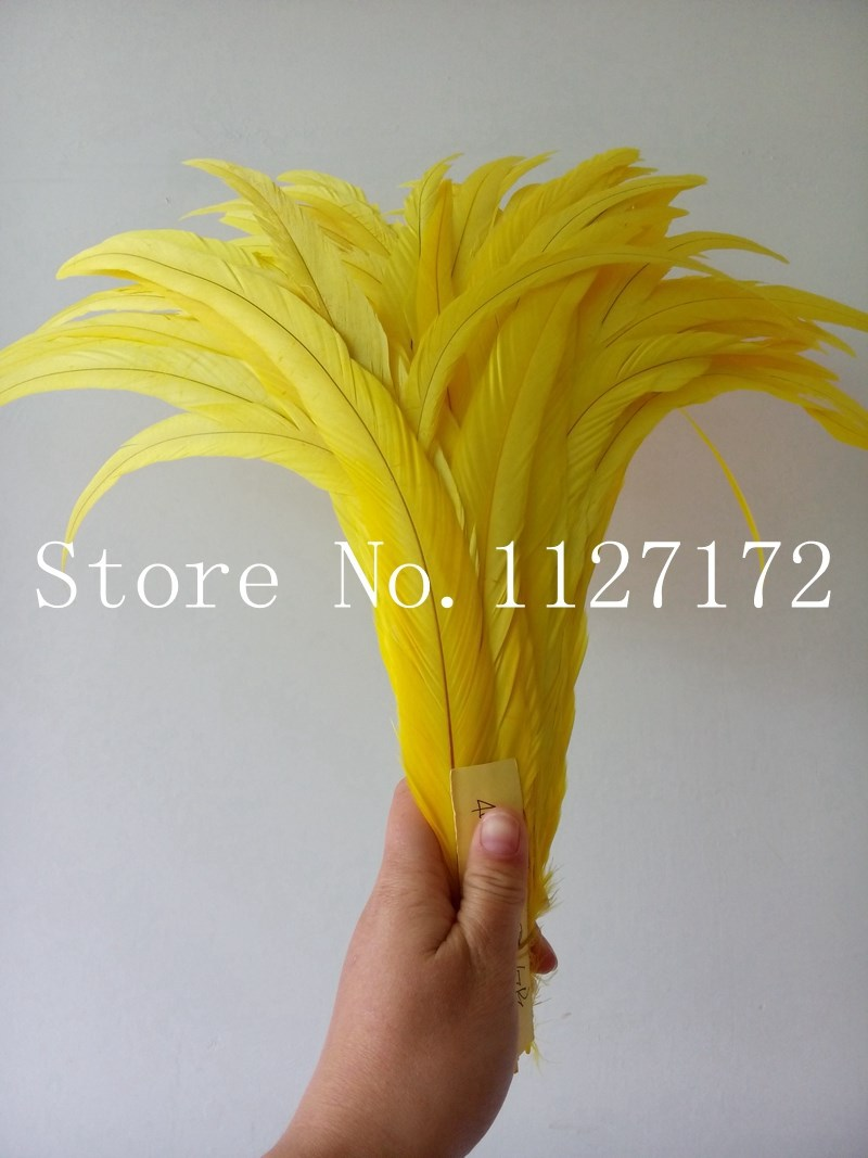FreeShipping 100pcs lot Bright Yellow Chicken Feather plumes 40 45cm 16 18 inches rooster tail feathers