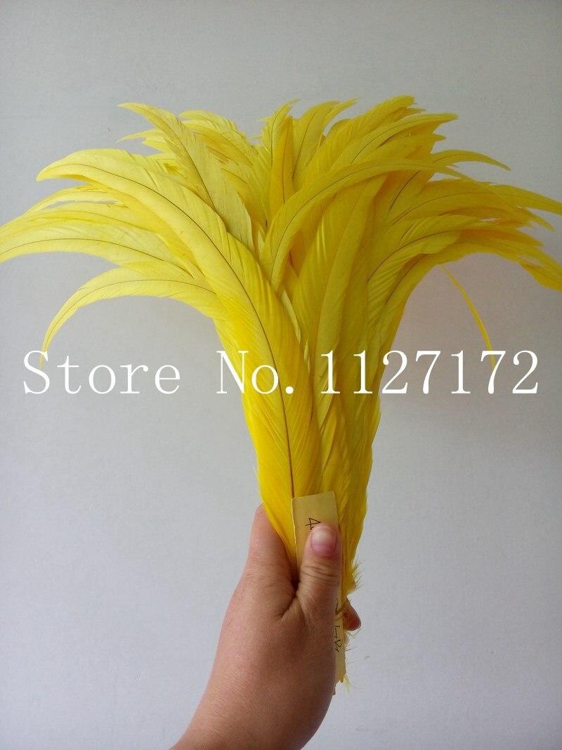 Livraison gratuite 100 pcs/lot plumes/plumes de poulet jaune vif 40 45 cm 16 18 pouces plumes de queue de coq-in Plume from Maison & Animalerie    1