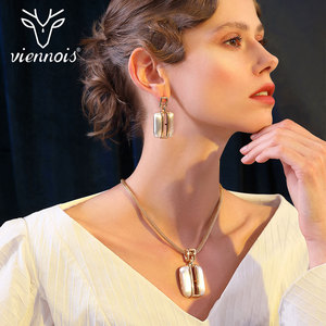 Image 1 - Viennois זהב/לערבב כסף צבע Stud עגילים גדול תליון תכשיטי סט לנשים תכשיטי סטים חדש