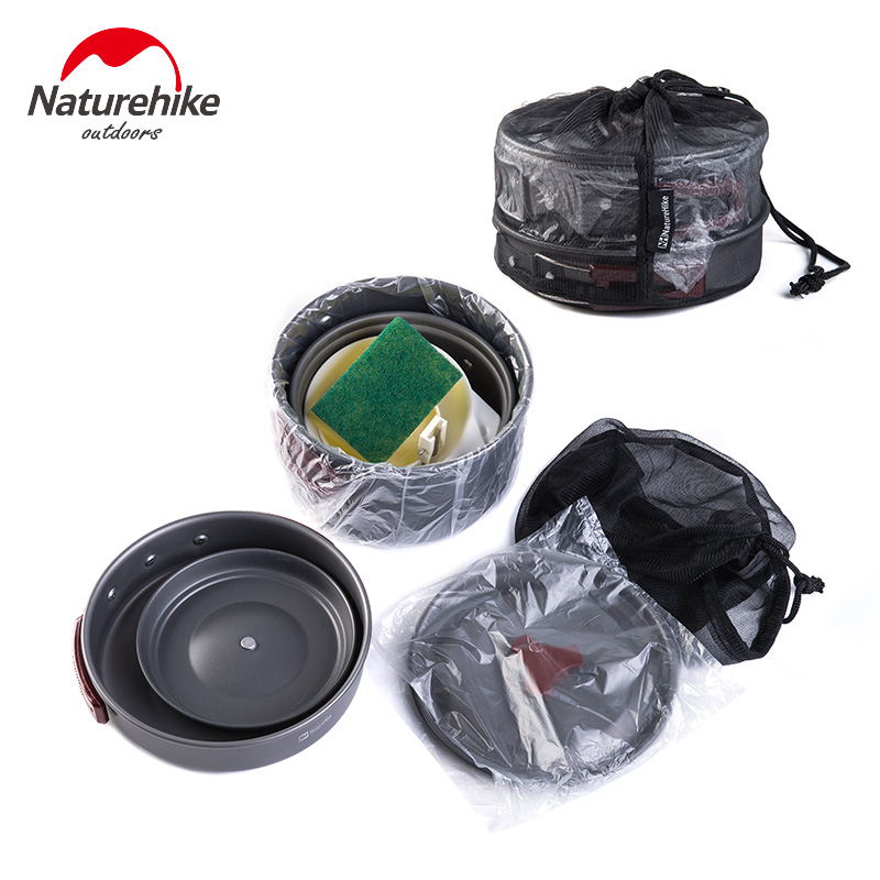 Naturehike Outdoor Tableware Camping Hiking Cookware Set 4 in 1 Picnic For 2-3 Person