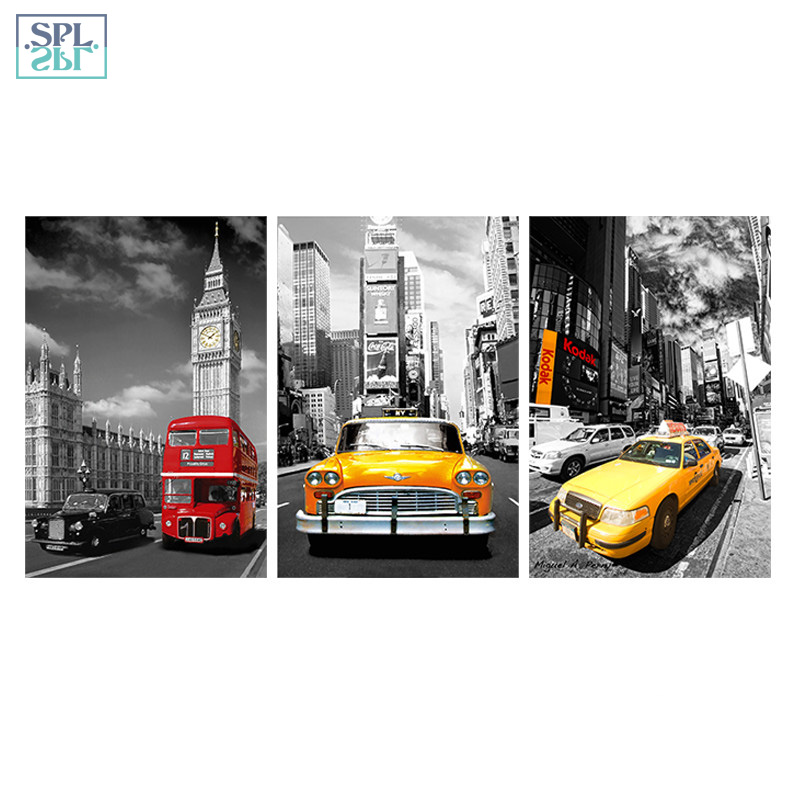 SPLSPL Street View Yellow Red Bus Taxi Decoration Picture Big Ben Scenery Canvas Wall Art Print Poster Painting for Room Framed
