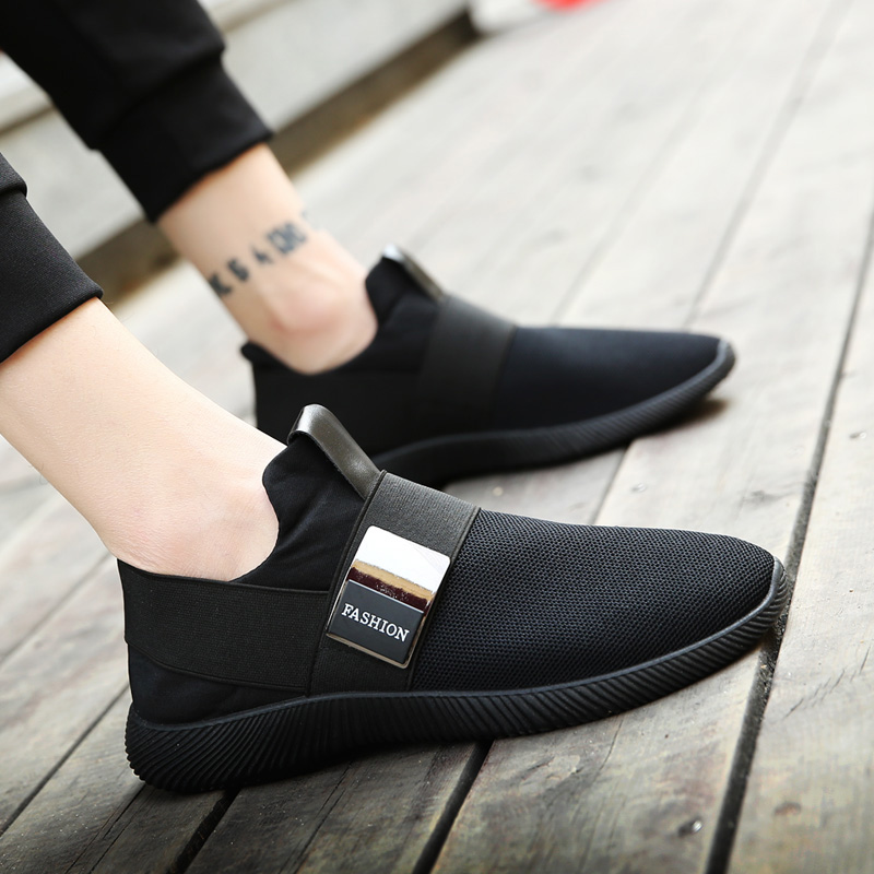 LebaLuka Simple Men Casual Sneakers Shoes Elastic Band Breathable Flats Shoes Daily Fashion Shoes Men Footwear Size 39-44